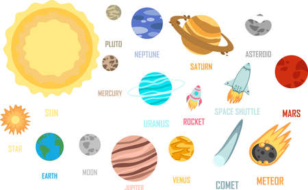 Set of Space. Solar system of planets, vector illustration