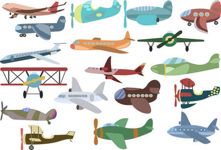 Set of Airplanes. Transport aircraft silhouettes collection