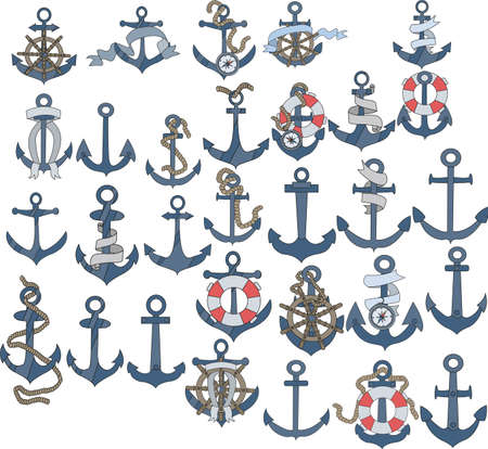 Marine or nautical themed ships anchor icons with blank ribbon banners entwined around the anchors