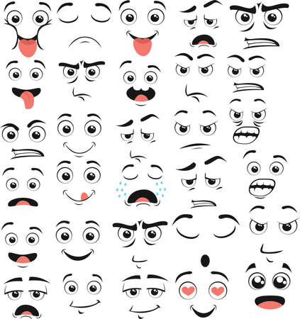 Big Set of Cartoon emotions vector in flat style
