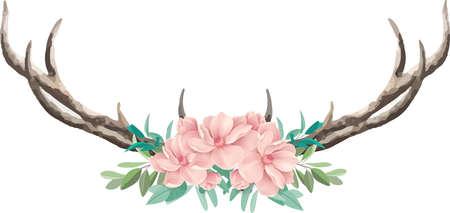 Deer horn on White Background. Vector illustration