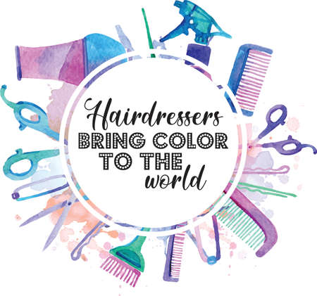 Hairdresser Bring Color To The World quote on white background. Vector illustration.