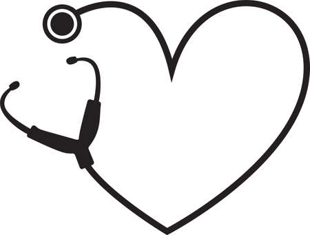 Simple heart stethoscope icon. Linear, thin outline. On white background