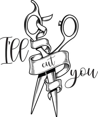 Ill cut you on white background. Vector illustration.