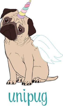 Pug dog cartoon illustration. Cute friendly fat chubby fawn sitting pug Illusztráció