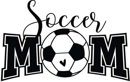 Soccer mom vector quote on white background. Vector illustration.