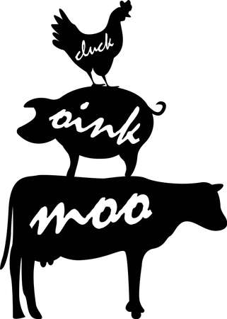 Cluck oink moo Farm animals on white background. Farm Vector illustration Ilustração
