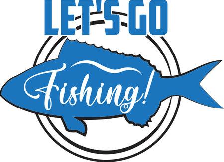Let s go fishing on white background. Fishing Vector illustration