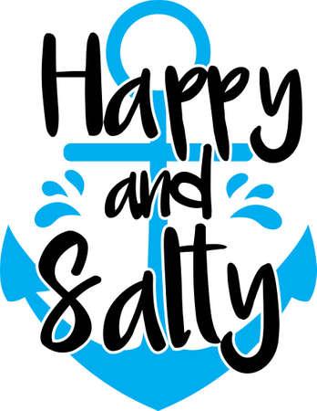 Happy and salty on the white background. Vector illustration Ilustração