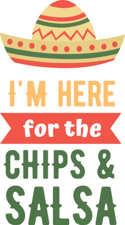 I am here for the chips and salsa on the white background. Vector illustration