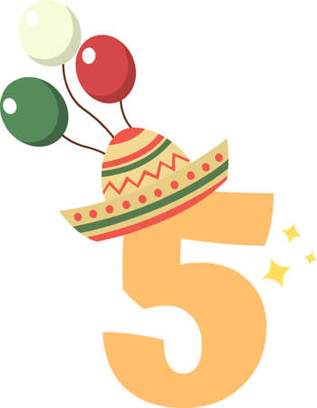 5 number on the white background. Vector illustration