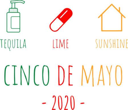 Tequila lime sunshine cinco de mayo 2020 on the white background. Vector illustration Çizim