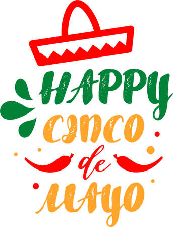 Happy Cinco de mayo on the white background. Vector illustration