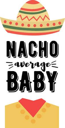 Nacho average baby on the white background. Vector illustration Çizim
