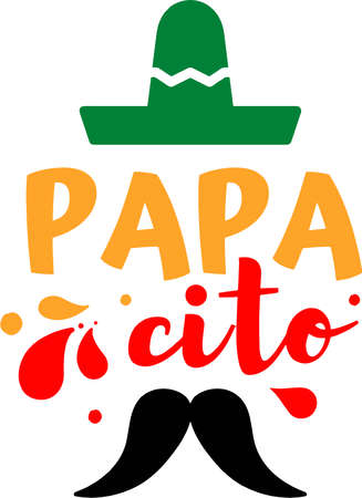 Papacito on the white background. Vector illustration