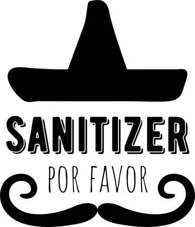 Sanitizer por favor on the white background. Vector illustration