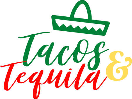 Tacos and tequila on the white background. Vector illustration