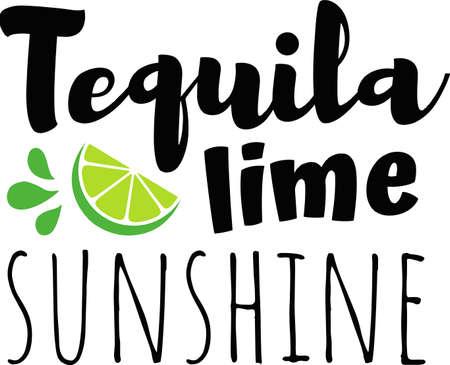 Tequila lime sunshine on the white background. Vector illustration Çizim