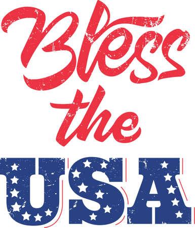 Bless the USA on the white background. Vector illustration Stock Illustratie