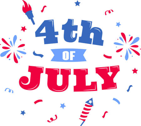 4th of July on the white background. Vector illustration