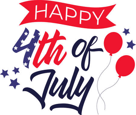 Happy 4th of July on the white background. Vector illustration