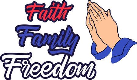 Faith Family Freedom on the white background. Vector illustration