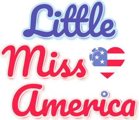 Little miss America on the white background. Vector illustration