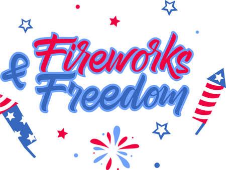 Fireworks Freedom on the white background. Vector illustration Stock Illustratie