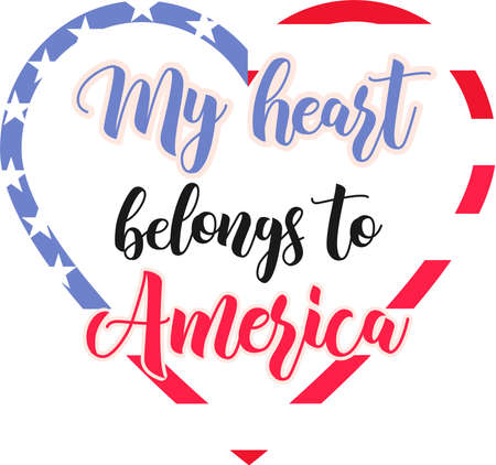 My heart belongs to America on the white background. Vector illustration