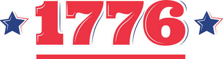1776 on the white background. Vector illustration holiday