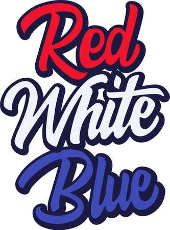 Red White Blue on the white background. Vector illustration