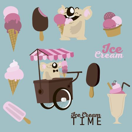Set of images with ice-cream and koala