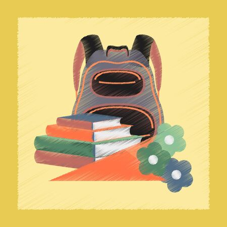 book bag: flat shading style icon school book bag flowers Illustration