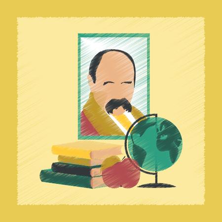 edutainment: flat shading style icon school Ukrainian literature lesson Illustration