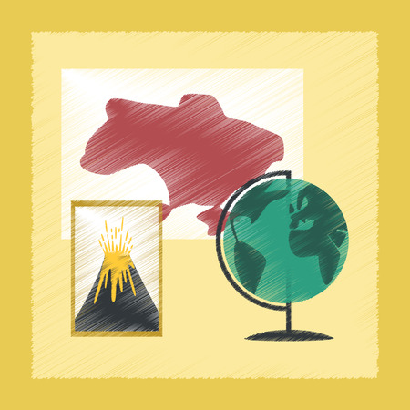 geography: flat shading style icon school subjects of study geography Illustration