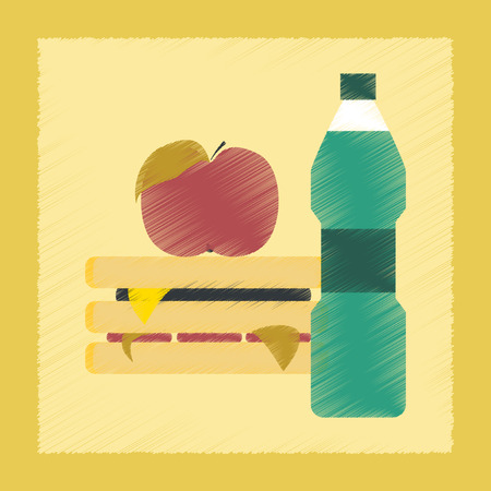 eating fast food: flat shading style icon school sandwich apple water