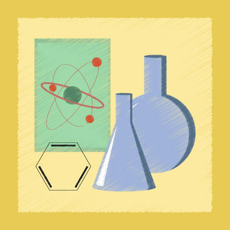 chemistry lesson: flat shading style icon school chemistry lesson