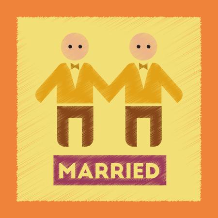 newlyweds: flat shading style icon gays newlyweds wedding