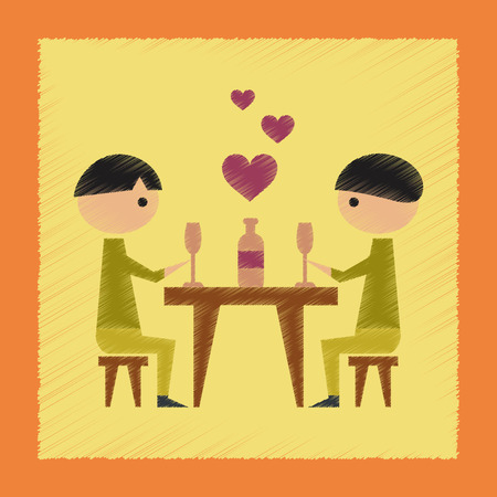 romantic dinner: flat shading style icon gays romantic dinner Illustration