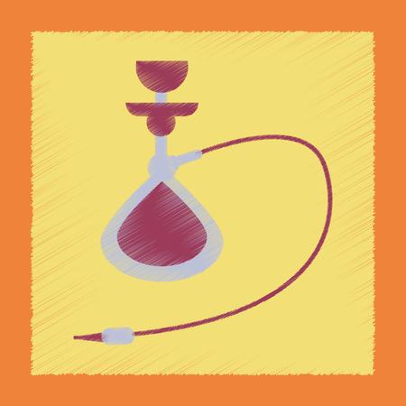 turkish ethnicity: flat shading style icon Eastern smoke hookah Illustration