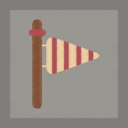 weather vane: flat shading style icon nature weather vane Illustration