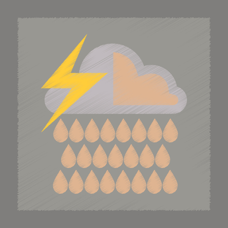 meteorologist: flat shading style icon nature thunderstorm rain cloud