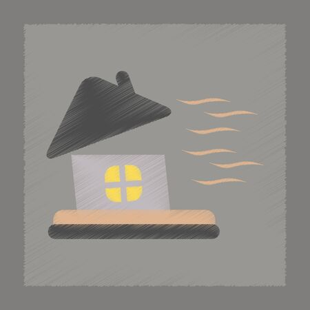 windstorm: flat shading style icon nature storm the house Illustration
