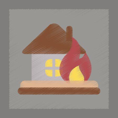sabotage: flat shading style icon nature fire house
