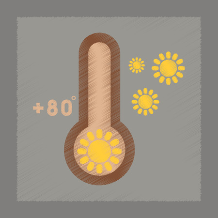 meteorology: flat shading style icon nature thermometer hot weather