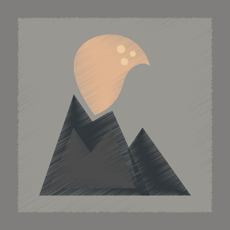 erupting: flat shading style icon nature volcano erupting Illustration
