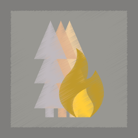 wildfire: flat shading style icon nature forest fire Illustration