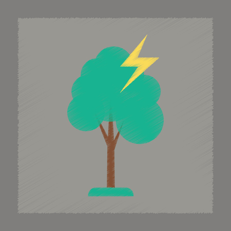 struck: flat shading style icon nature lightning tree Illustration