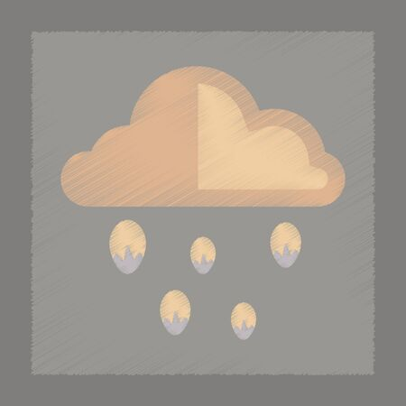 hailstorm: flat shading style icon nature cloud hail Illustration