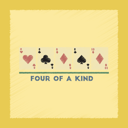 4 of a kind: flat shading style icon poker four of a kind Illustration